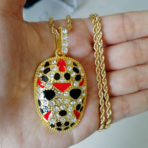 Fashion Jewelry Rhinestone Facial Makeup Pendant Choker Painted Iced Out Hip Hop Necklace - Fashion mi style