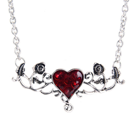 Halloween Cool Looking Blood Heart Rose Flower Punk Necklace - Fashion mi style
