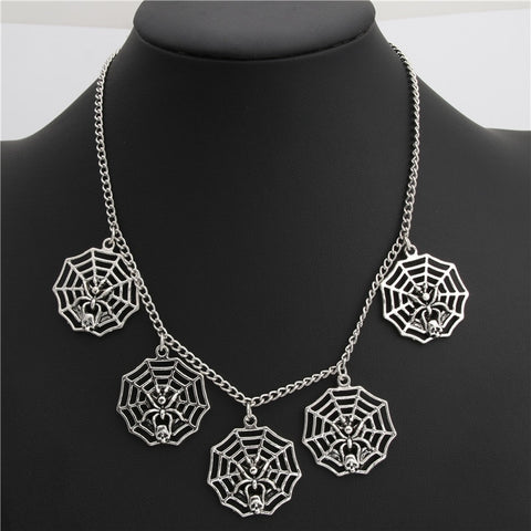 1pc Silver Spider Web Charms Pendant Short Chain Necklace Halloween Choker For Women - Fashion mi style