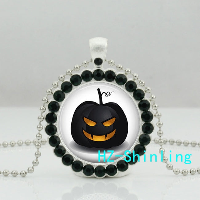 New Halloween Pumpkin Crystal Necklace Black Cat Pendant - Fashion mi style