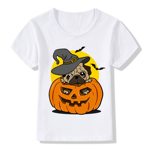 Halloween Baby Boys And Girls Pumpkin Cartoon Dog T Shirts Painting - Fashion mi style