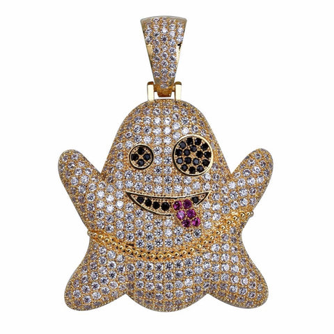 Bling Iced Out Cartoon Ghost Pendants Necklaces Rose Gold/Siver - Fashion mi style