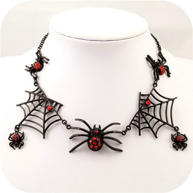 Halloween Spider Web Statement Chokers Ladies Accessories Black Charm Earring Jewelry Set - Fashion mi style