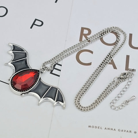 New Arrival Antique Silver Color Red Crystal Black Bat Wing Necklace - Fashion mi style
