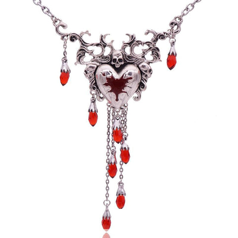 Newest red heart woman necklace  Halloween skull party jewelry