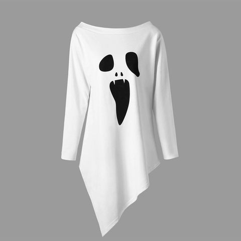 Summer T-Shirt Women Fashion Halloween Long Sleeve Ghost t-shirt