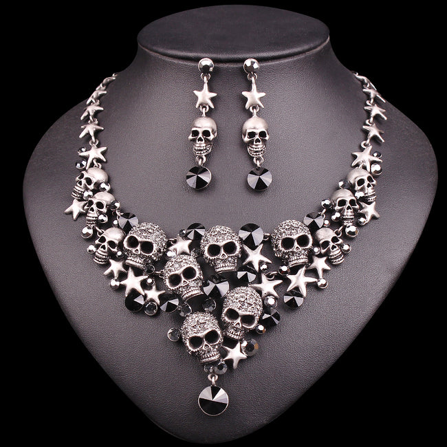 Vintage Skull Statement Necklace & Earrings Sets Retro Skeleton Jewelry