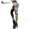 Image of Halloween Miserable Skull Gothic Cross Tomb Leggings Ghost Ankle Pants - Fashion mi style