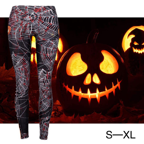 New Fashion Women Halloween Night 3D Digital Print Slimming Fitting Leggings Hot Sale Slimming Breathable Hip Pencil Pants - Fashion mi style