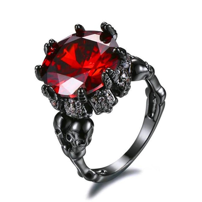Antique Red Crystal Zircon Vintage Black Gold Filled Double Skull Rings - Fashion mi style