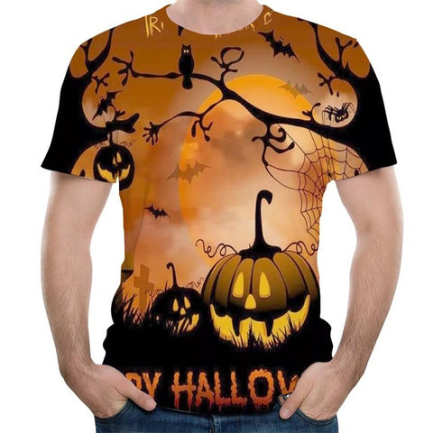 New Halloween Clothing 3D Print Pumpkin Lantern Casual Skeleton Tops Hip-Hop Skull Fashion T-Shirt