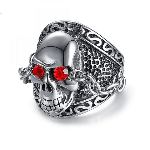 Finger Ring Designs skull Men fashion stainless steel shiny rhinestones skeletons - Fashion mi style