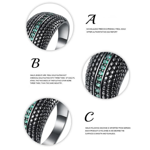 Exaggerated Green Zircon Alloys Dream bell Rings - Fashion mi style