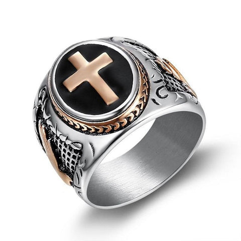 Stainless Steel biker Hip Hop Punk Rock Male Personality party Pray God Cross ring