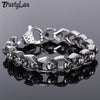 Image of TrustyLan Punk Rocker Skull Bracelet Men Heavy Stainless Steel Men's Bracelets Gothic Jewellery Halloween Accessories Drop Ship