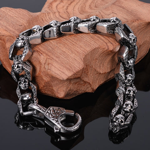 TrustyLan Punk Rocker Skull Bracelet Men Heavy Stainless Steel Men's Bracelets Gothic Jewellery Halloween Accessories Drop Ship