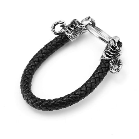 10pcs/lot  Fashion Scorpions Leather Bracelets Genuine Zinc Alloy Black Bracelet - Fashion mi style