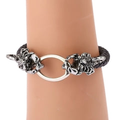 10pcs/lot  Fashion Scorpions Leather Bracelets Genuine Zinc Alloy Black Bracelet