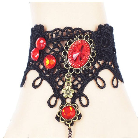 Halloween Party Gothic Vintage Black Lace Bracelet Black Spider Bracelets (Color: Black) - Fashion mi style