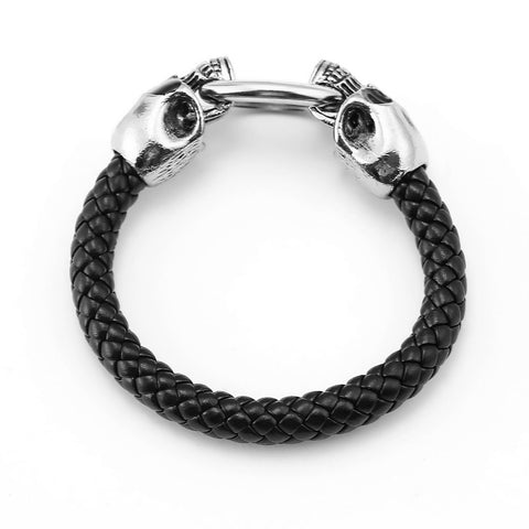 10 pcs /lot fashion jewelry men's charm bracelets skull leather Bracelet - Fashion mi style
