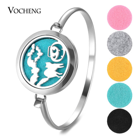10pcs/lot Essential Oil Diffuse Stainless Steel Perfume Locket Bangle 2 Styles without Felt Pads - Fashion mi style