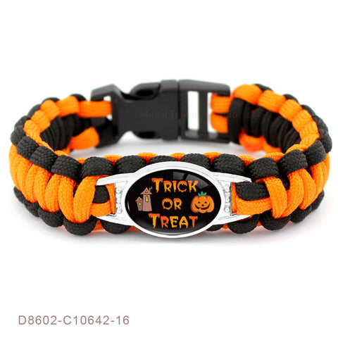 Halloween Trick Or Treat Candy Jack Skellington Sally Goth Skull Pumpkin Paracord Bracelets - Fashion mi style