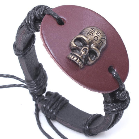 2Pc/lot Halloween Skull Bracelet. 100% Genuine leather - Fashion mi style
