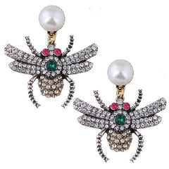 Newest hot style character spider with glass stone bee earrings