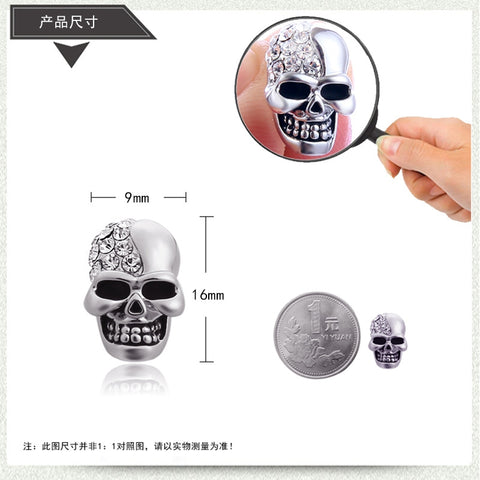 High Quality Skull Shaped Retro Glossy Rhinestone Stud Earrings - Fashion mi style