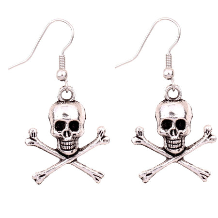 1Pair New Arrival Jewelry Vintage Style Silver skull  cross bone Charms Earrings - Fashion mi style
