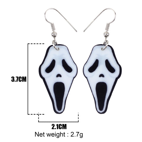 Acrylic Halloween Howling Ghost Earrings Dangle Drop Big Long Fashion Jewelry - Fashion mi style