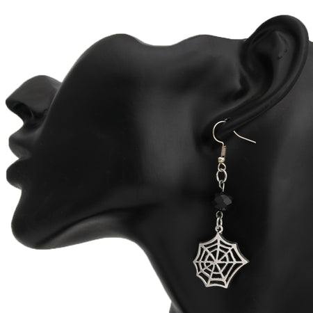 1pair Silver Spider Web Witchy Dangle Earring With Black Bead Gothic Jewelry - Fashion mi style