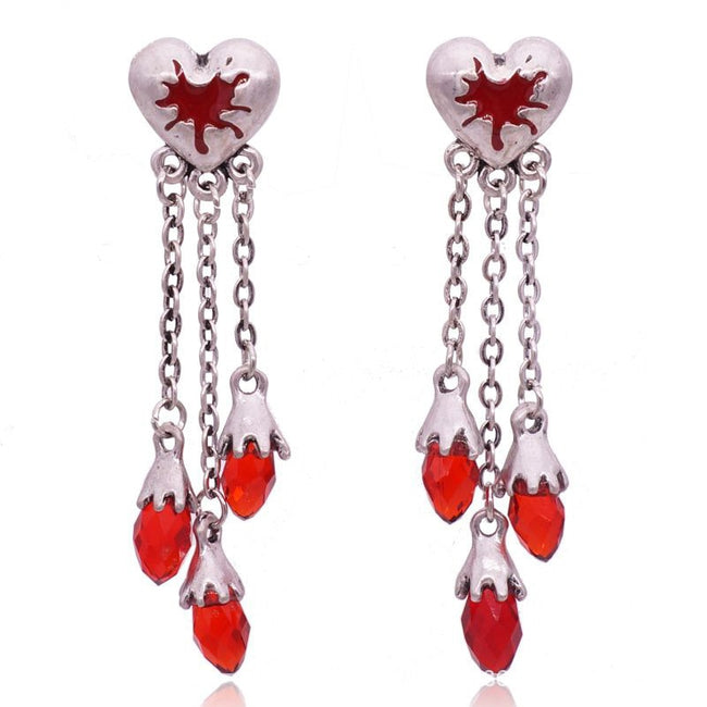 Halloween punk style Gothic red heart crystal earrings accessories - Fashion mi style