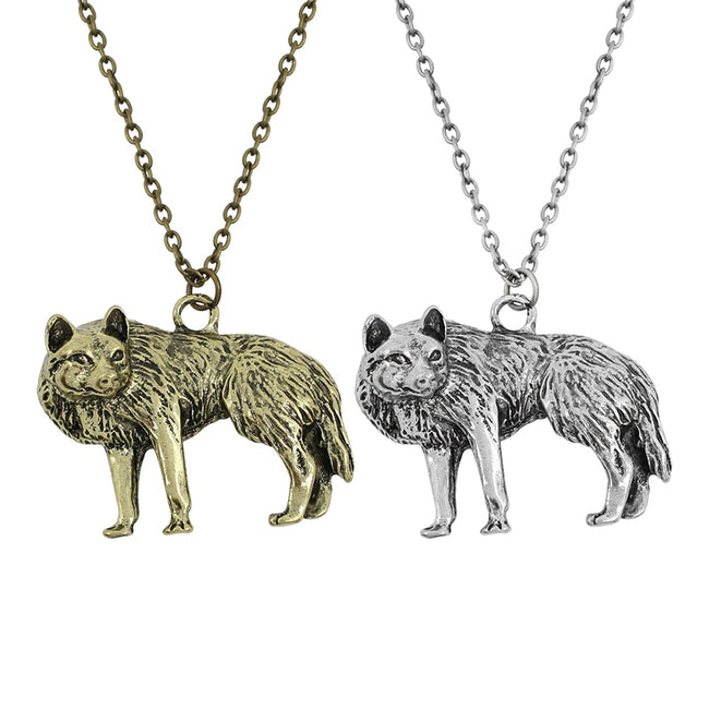Hip Hop Retro Wolf Necklace Choker Halloween Dog Wolf Necklaces & Pendants With Long Chain - Fashion mi style
