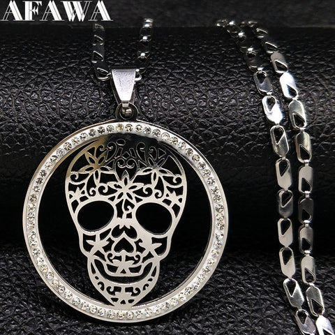 Fashion Skull Crystal Stainless Steel Chain Necklace - Fashion mi style