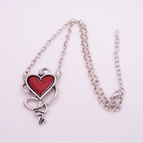 American and European Halloween Gothic punk red drop nectarine heart pendant necklace - Fashion mi style