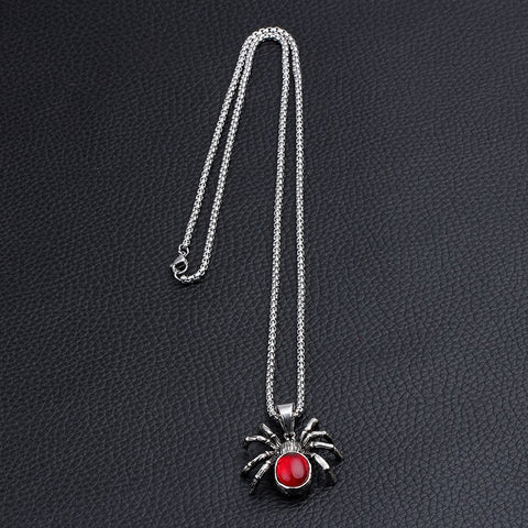 Punk Vintage Spider Necklace Pendant Red Crystal Jewelry