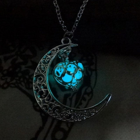 Hot Necklace Halloween Starry Moon Time Luminous Necklace Luminous Love Pendant - Fashion mi style