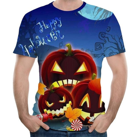 Halloween Pumpkin lantern Hip Hop Punk Gothic Shirts Vintage Rock T-Shirt - Fashion mi style