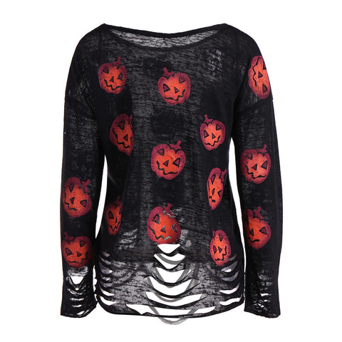 long Sleeve casual O-Neck Pumpkin Printed Ripped Halloween T-shirt - Fashion mi style