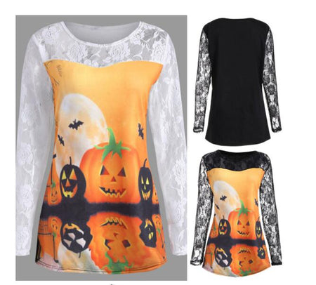 1 piece Halloween Pumpkin bat Print Lace Long Sleeve T Shirt Plus Size - Fashion mi style