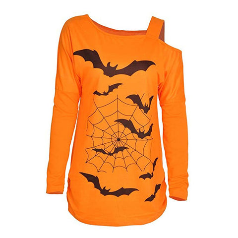 Long Sleeve Halloween Loose Print Sweatshirt Tops Pullover - Fashion mi style