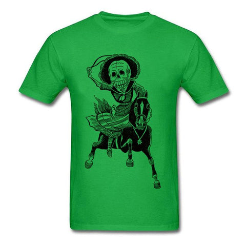 New Arrival Tee Funny Horse Rider Black White T-shirt  Skull - Fashion mi style