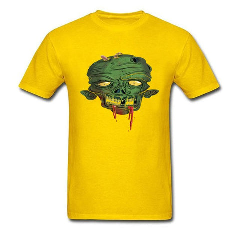 Decayed Zombie Halloween Disgusting Cartoon Design Guys Black Tops & Tees Cotton T shirt - Fashion mi style