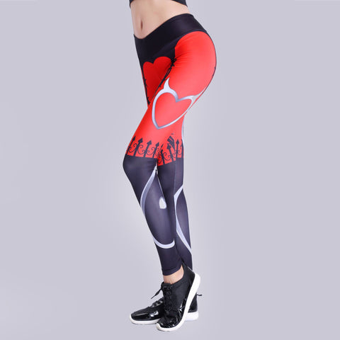 New Halloween pants Cool Red Black Pattern Print Stretch Women Pencil Leggings