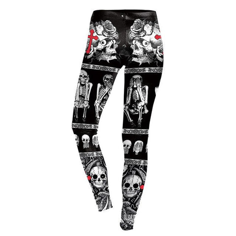 Halloween Devils Skull Hell Fire Prints Stretch Slim Fitness Push Up Women Leggings - Fashion mi style