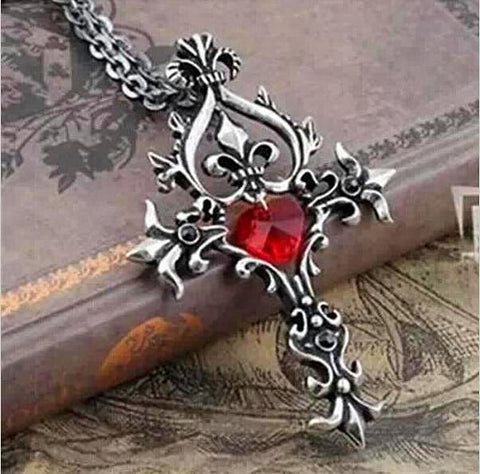 "Trendy Movie ""Vampire Diaries"" Gothic Fantasy Red Cross Necklace"