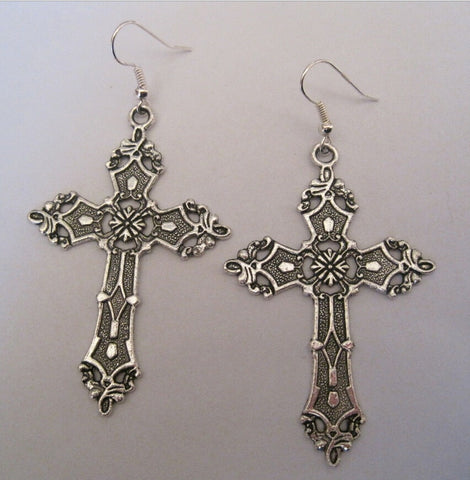 1 pairs Tibetan Silver *LARGE SILVER CROSS* Gothic Earrings Dita Madonna Design - Fashion mi style