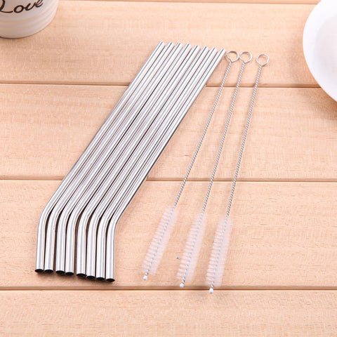 8Pcs Reusable Stainless Steel Metal Straws