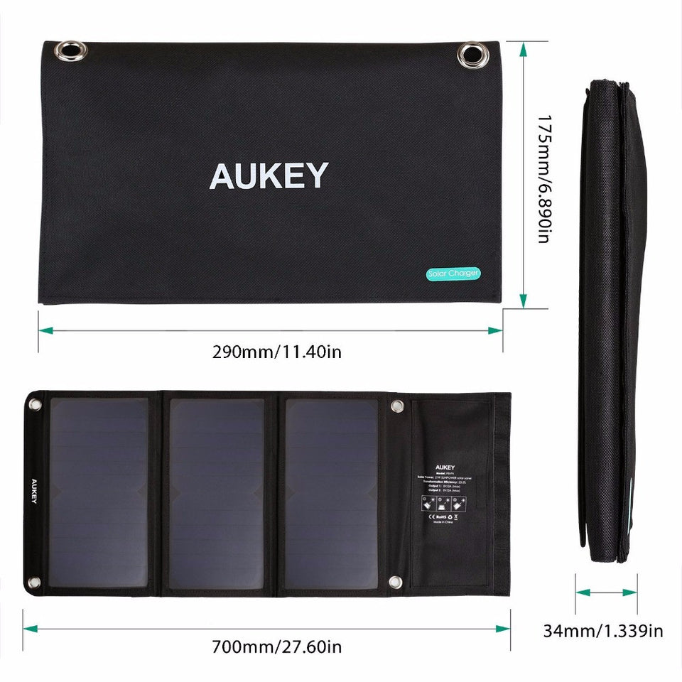 AUKEY 21W Solar Charger With Dual USB Port